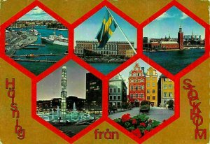 Sweden Halsning fran Stockholm Boats The Parliament Church Fountain Postcard