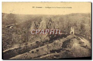 Old Postcard Crozant confluence of the Creuse and Sedelle