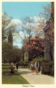 Ithaca New York~Cornell University Campus~Guy & Girl Walking~Blossoming Tree~'59