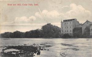 Cedar Falls Iowa~Cedar River & Mill~1909 Mc Kee School Supplies Postcard