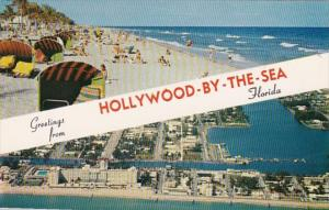 Florida Greetings From Hollywood-By-The-Sea Aerial View and Beach Scene
