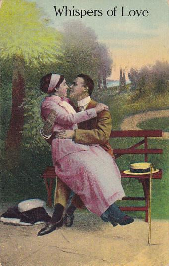 Romantic Couple On Bench Whispers Of Love