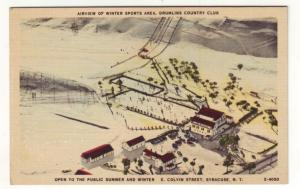 P535 JLs 1930-45 linen airview winter sports drumlins country club syracuse ny
