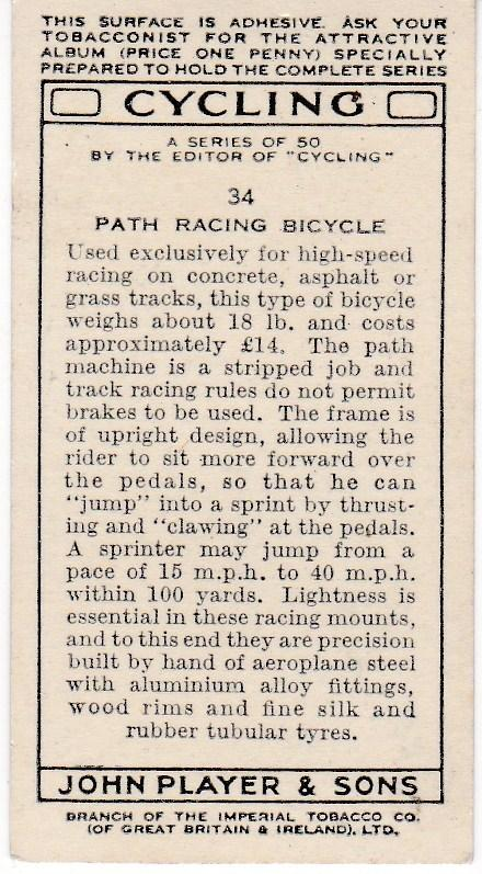 Cigarette Cards Players CYCLING No 34 Path Racing Bicycle