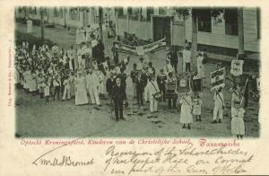 suriname, PARAMARIBO, Coronation Feasts, Public School Children, Music Band 1898