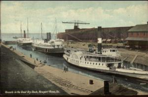Newport News VA Steamer Boats Ships Dry Dock c1910 Postcard EXC COND