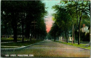 1909 Middletown, Connecticut Postcard HIGH STREET Residential Scene / Houses