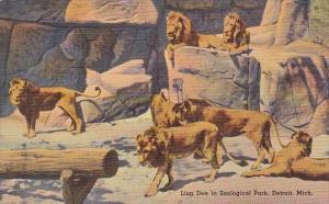 Lion Den In Zoological Park Detroit Michigan