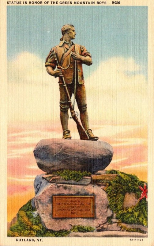 Vermont Rutland Statue In Honor Of The Green Mountain Boys Curteich