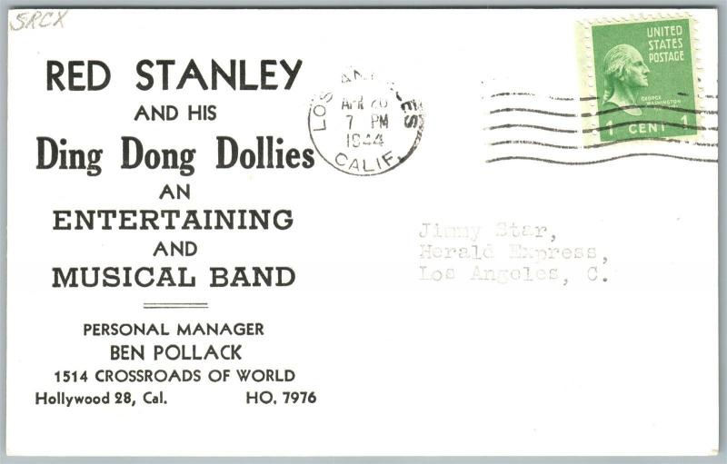 DING DONG DOLLIES RED STANLEY VINTAGE 1944 REAL PHOTO POSTCARD RPPC HOLLYWOOD