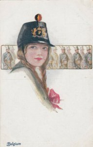 Female Head Portrait , 00-10s BELGIUM ; Girl Soldier