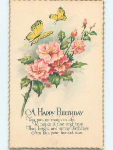 Pre-Linen BEAUTIFUL YELLOW BUTTERFLY ON PINK FLOWERS HJ4838