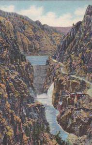 Highway And Dam, Shoshone Canon On Cody Way To Yellowstone Park, YELLOWSTONE,...