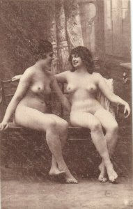 PC CPA RISQUE NUDE FEMALE, NAKED LADIES, LESBIAN INTEREST, POSTCARD (b2481)