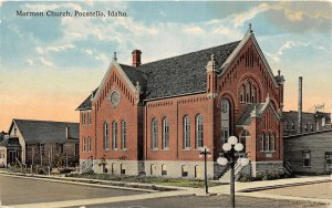 H9/ Pocatello Idaho Postcard 1917 Mormon Church Building