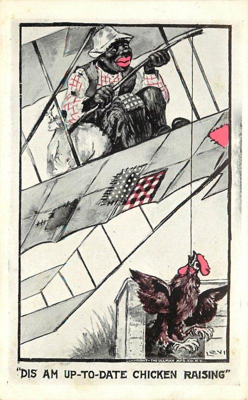 Black Caricature Catches Chicken From Bi Plane Komikal Koons Postcard Racist