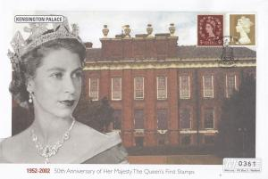 Kensington Palace Queen Elizabeth II Golden Jubilee Rare Stamp 50th Anniversa...