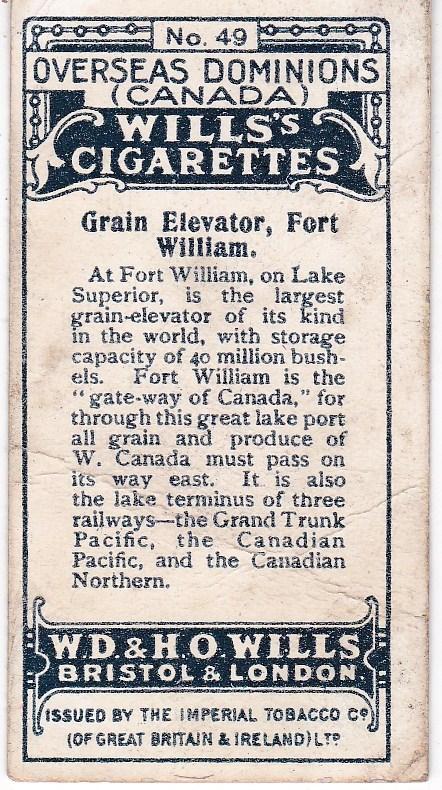 Cigarette Card Wills's  Overseas Dominions (Canada) No 49