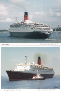 Bon Voyage Coming Home QE2 Ferry Womens Institute Hampshire 2x Postcard s