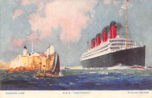 Cunard Line Ship Postcard Old Vintage Steamer Antique Post Card Unused