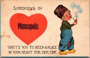 Minnesota Minneapolis Dutch Boy Smiking Cigar 1909