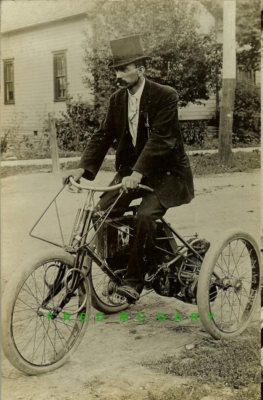 C.1909 DeDion-Bouton Motorized Tricycle / Motorcycle Real Photo Postcard