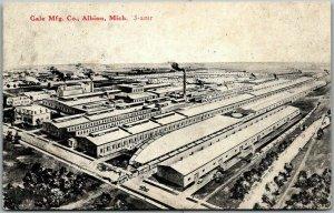 Albion, Michigan Postcard GALE MFG. CO. Factory Bird's-Eye View c1910s Unused