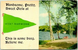 1915 WEST NORWOOD New Jersey Greetings Postcard Handsome, Pretty, Sweet Girls