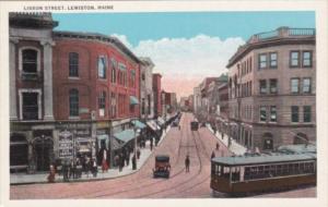 Maine Lewiston Trolley On Lisbon Street