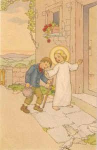 Child Jesus helping a poor boy Lovely Spanish vintage religious PC