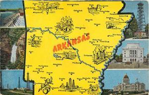 Linen Map Postcard of Arkansas AR