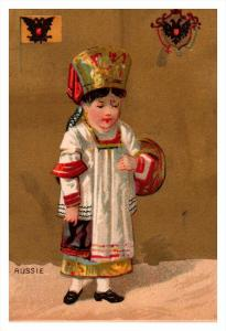 Russie    Flag, Girl   Victorian  Trade Card
