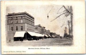 Billings MT Postcard MONTANA AVENUE Downtown Street Scene Stores c1900s Unused