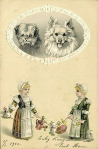 Beautiful Embossed Postcard - With Two Girls And Two Dogs 04.00