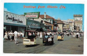 Greetings from Atlantic City NJ Rolling Chairs on Boardwalk Stores Vntg Postcard