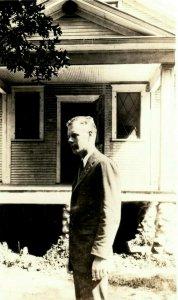 c1920's Charles Lindbergh at House Little Falls Minnesota MN RPPC Photo Postcard
