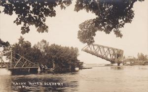 RPPC ; C. N. Railroard Lift Bridge Rainy River ,  Ranier , Ontario , Canada 1...