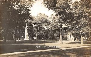 Three Rivers Michigan~City Park~Civil War Soldiers Monument~1930s RPPC
