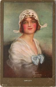 Artist Signed~Maria ?~Simplicity~Lovely Lady Portrait~White Embroidered Cap