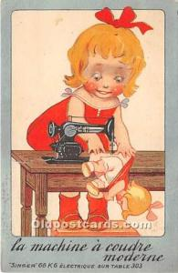 Advertising Postcard - Old Vintage Antique La Machine a Coudre Moderne Singer...