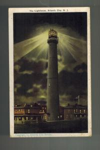 1927 Atlantic City NJ Postcard Cover lighthouse At Night to Lancaster PA