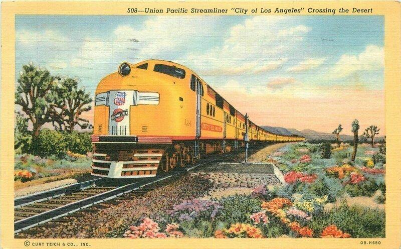 Mojave Desert California Streamliner Railroad Union Teich Postcard 21-981
