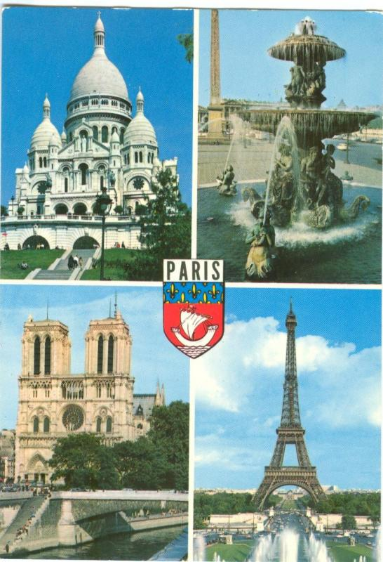 France, PARIS, multi view, used Postcard