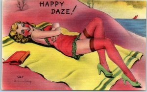 Artist-Signed B. ARMSTRONG Linen Postcard HAPPY DAZE! Glamour Girls GL-7 c1940s