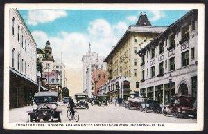 FL – Jacksonville – Forsyth St showing Aragon Hotel