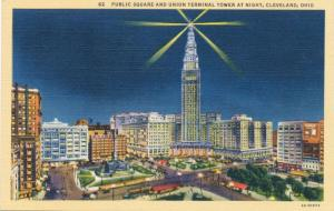 Cleveland Ohio Public Square and Union Terminal Tower at Night - pm 1940 - Linen