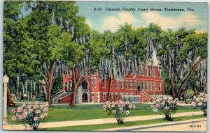 Kissimmee, Florida Postcard OSCEOLA COUNTY COURT HOUSE Curteich Linen 1946