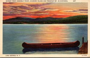 New York Lake George Sunset From Assembly Point 1938 Curteich