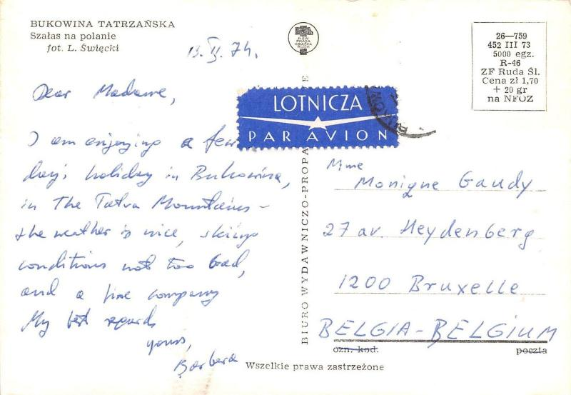 Poland Bukowina Tatrzanska Szalas na polanie fot. L. Swiecki 1974