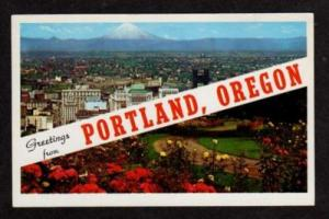 OR Greetings from PORTLAND OREGON Postcard PC Flowers